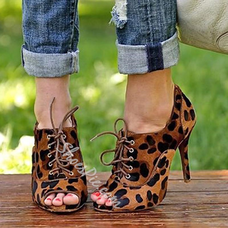 Shoespie Leopard Peep Toe Stiletto Heels