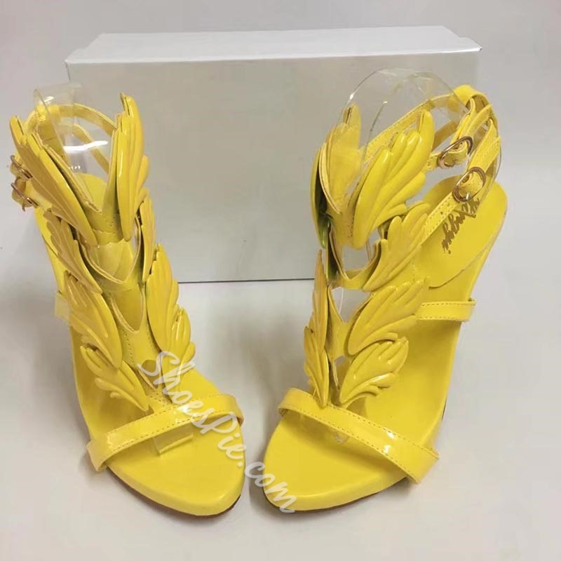 Shoespie Uninque Feather Shapes Dress Sandals