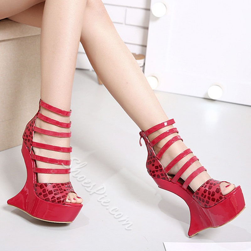 Shoespie Peep-toe Back Zipper Breathable Wedge Heels