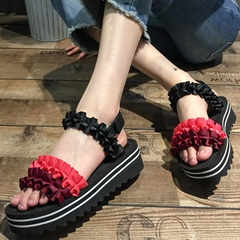 Shoespie Color Block Frill Flat Sandals