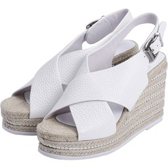 Shoepie White Cross Wide Strap Braided Wedge Sandals