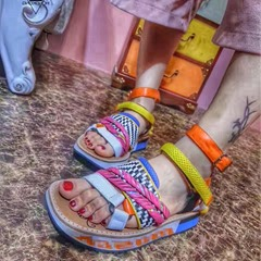 Shoespie Colorful Braided Strappy Flat Sandals
