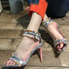 Shoespie Colorful Fringes Stiletto Heel Sandals