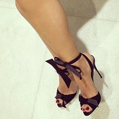Shoespie Black and Gray Bow Decorated Stiletto Heel Sandals