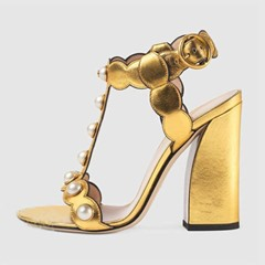 Shoespie T Strap Chunky Heel Sandals with Pearls