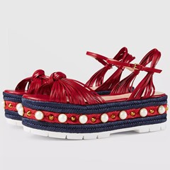 Shoepie Embellished Platform Plaited Strappy Flat Sandals