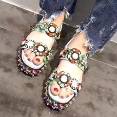 Shoespie Colorful Beading Flat Sandals