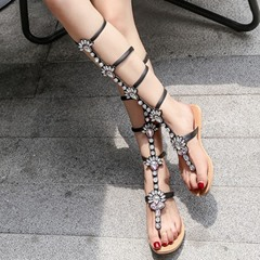 Shoespie New Rhinestones High Shaft Strappy Gladiator Sandals
