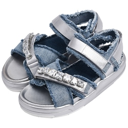 Shoespie Raw Edge Denim Flat Sandals with Rhinestones