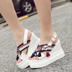 Shoespie Charms and Fringes Slingback Wedge Sandals