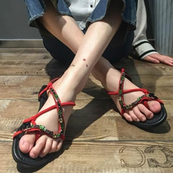 Shoespie Red Strappy Embellished Flat Sandals