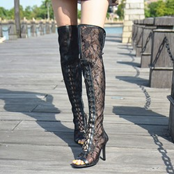 Shoespie Peep-toe Lace Knee High Boots