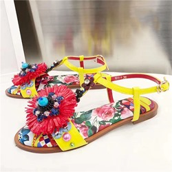 Shoespie Flora Print and Embellishment Flat Sandals