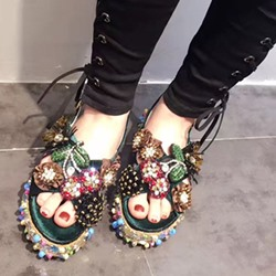 Shoespie Colorful Embellisment Slingback Flat Sandals