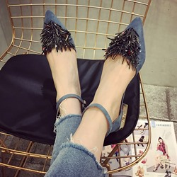 Shoespie Tassels Ankle Wrap Low Heels
