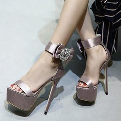Shoespie Silky Ankle Strap Platform Stiletto Heel Sandals
