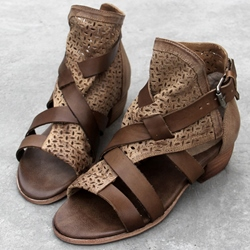 Shoespie Cutout Ankle Wrap Gladiator Sandals