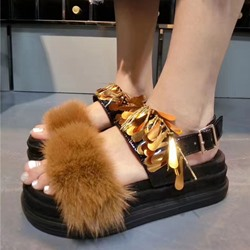 Shoespie Marten Hair and Sequin Flat Sandals