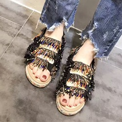 Shoespie Colorful Beading Fringes Strappy Flat Sandals