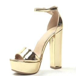 Shoespie Golden Chunky Heel Platform Sandals