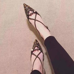 Shoespie Rivets Cross Strap Breathable Stiletto Heels