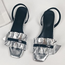Shoespie Metalic Frill Slingback Square Open Toe Flat Sandals