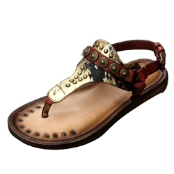 Shoespie Metal Embellishment Flat Thong Gladiator Sandals