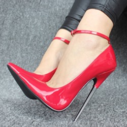 Shoespie Pointed-toe Metal Buckles Stiletto Heels