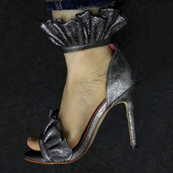 Shoespie Gray Frills Stiletto Heel Sandals