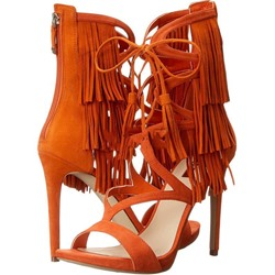 Shoespie Faux Suede Ankle Wrap Fringes Heel Sandals