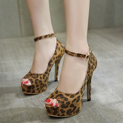 Shoespie Leopard Print Stiletto Heel Dress Sandals