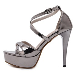 Shoespie Cross Strap Platform Buckle Stiletto Heels Dress Sandals