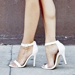 Shoespie White Ankle Strap Heel Sandals