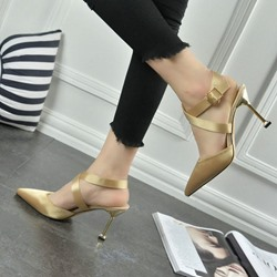 Shoespie Cross Strap Buckle Stiletto Heels