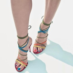 Shoespie Colorful Strappy Lace Up Stiletto Heel Sandals