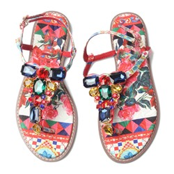 Shoespie Colorful Rhinestones and Patterns Thong Flat Sandals