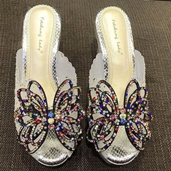 Shoespie Bling Platform Mule Shoes