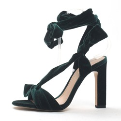 Shoespie Lace-Up Banquet Strappy Chunky Heel Bow Sandals