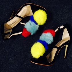 Shoespie Colorful Pompom Heel Sandals