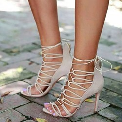 Shoespie Lace Up Back Zipped Heel Sandals