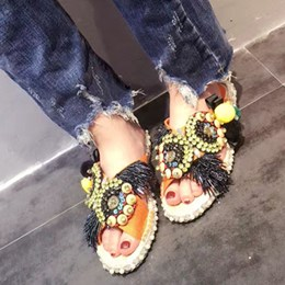 Shoespie Delicate Colorful Beadwork Slippers