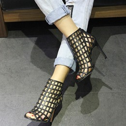 Shoespie Summer Peep Toe Hollow Thread Ankle Boots