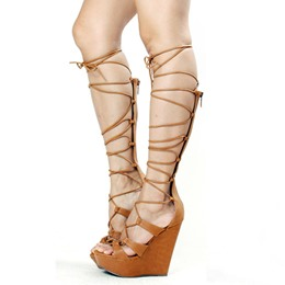 Shoespie Knee High Lace Up Wedge Platform Sandals