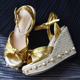 Shoespie Braided Wedge Sandals with Pearls