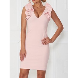 Shoespie Ruffle Sleeve Sleeveless V-Neck Falbala Bodycon Dress