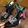 Shoespie Color Block Heel Sandals with Colorful Rhinestones