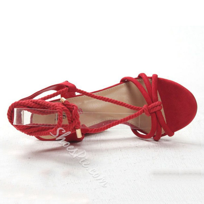 Shoespie Red Block Heel Braided Lace Up Sandals