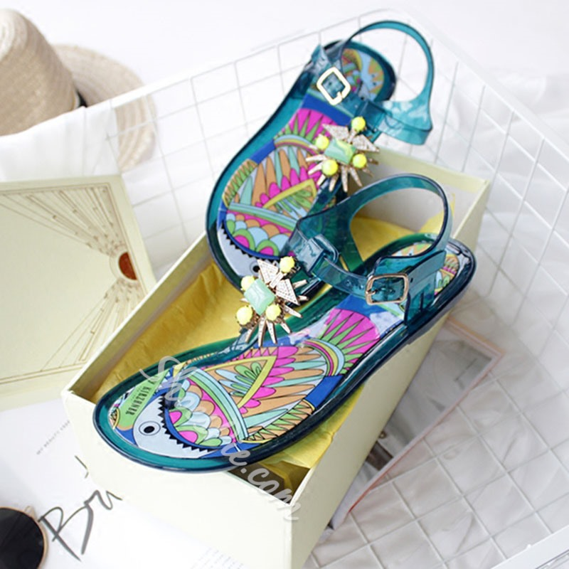 Shoespie Tropical Pattern Embellished Thong Flat Sandals