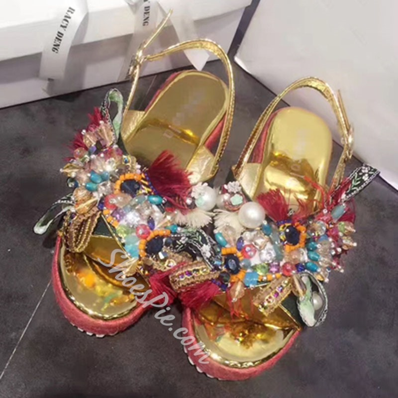 Shoespie Exotic Embellished Platform Sandals