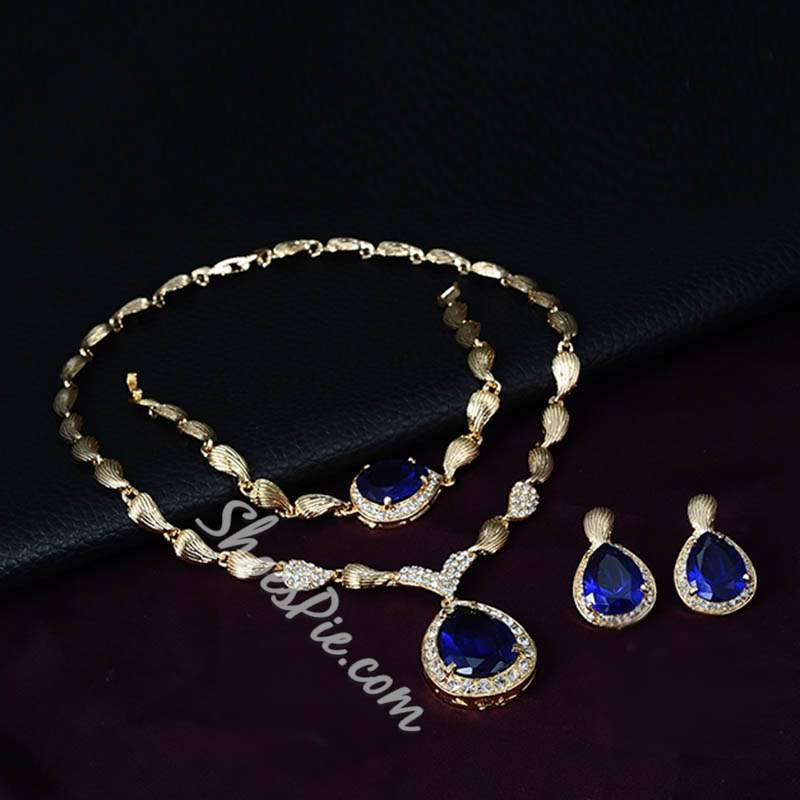 Sapphire Shape Water Drop Pendant Banquet Jewelry Sets
